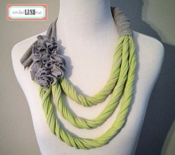Lime Green & Grey Repurposed Tshirt Necklace / Scarflace / Infinity Scarf by embelLUSHme, $20.00 ... asymmetrical with flowers