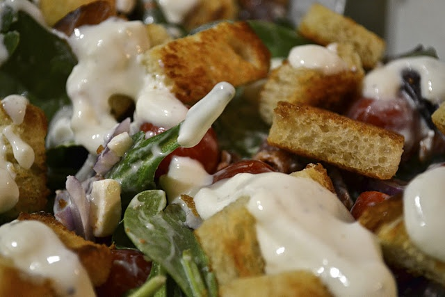Spinach, Bacon and Tomato Salad with Feta-Buttermilk Dressing - WW pts+ 4