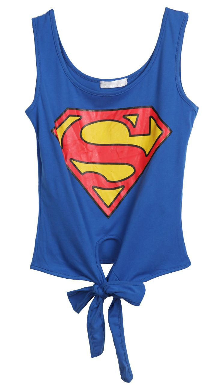 Blue Sleeveless Superman Print Bow Vest - just for the fun of it!