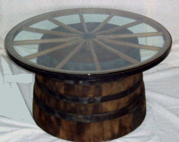 W A G O N W H E E L Wooden Barrel Coffee Table