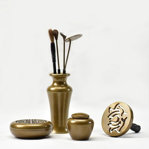 FREE SHIPPING, Incense Burner Set Copper Incense tools Metal Crafts Home Decor