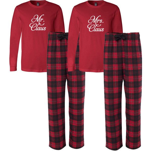 Mr and Mrs Claus Flannel Pj Set Adult Christmas Pajamas Couple's... ($72) ❤ liked on Polyvore featuring intimates, sleepwear, pajamas, grey, women's clothing, christmas pajama sets, christmas flannel pajamas, flannel sleepwear, christmas pyjamas and christmas pjs