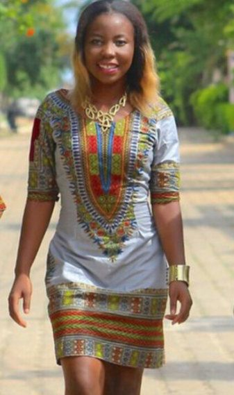 YURG Grey Angelina African Female Dashiki Dress by AFRICANISEDSHOP