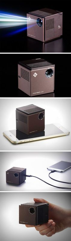 The Smart Beam (as it's called) is as small as your phone and can project 720p video to a size of 150 inches. This little cube is the smallest 720p laser projector in the world! It sits right in your hand, giving you the feeling of wielding something rather powerful. It pairs seamlessly with iOS/Android phones, even tablets, and also your PC! Carry it around anywhere and impress your home-boys with their new way of watching football, or the superbowl, or even lip-sync challenge. BUY NOW!