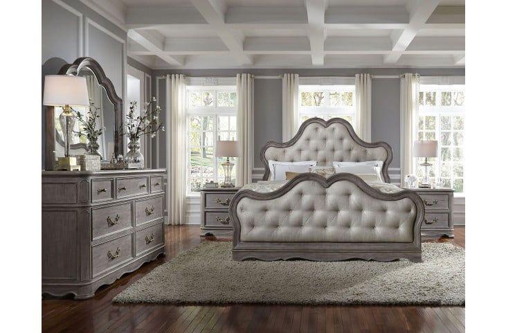 Palmer Warm Weathered Grey Upholstered Panel Bedroom Set Bedroom Set Upholstered Bedroom Set Bedroom Furniture Sets