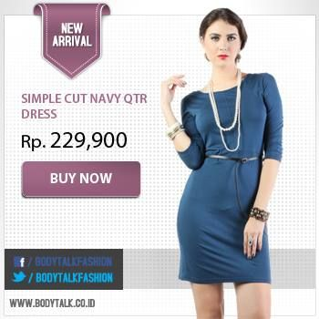 Pair this Simple Cut Navy QTR Dress with statement necklaces. Click: www.bodytalk.co.id