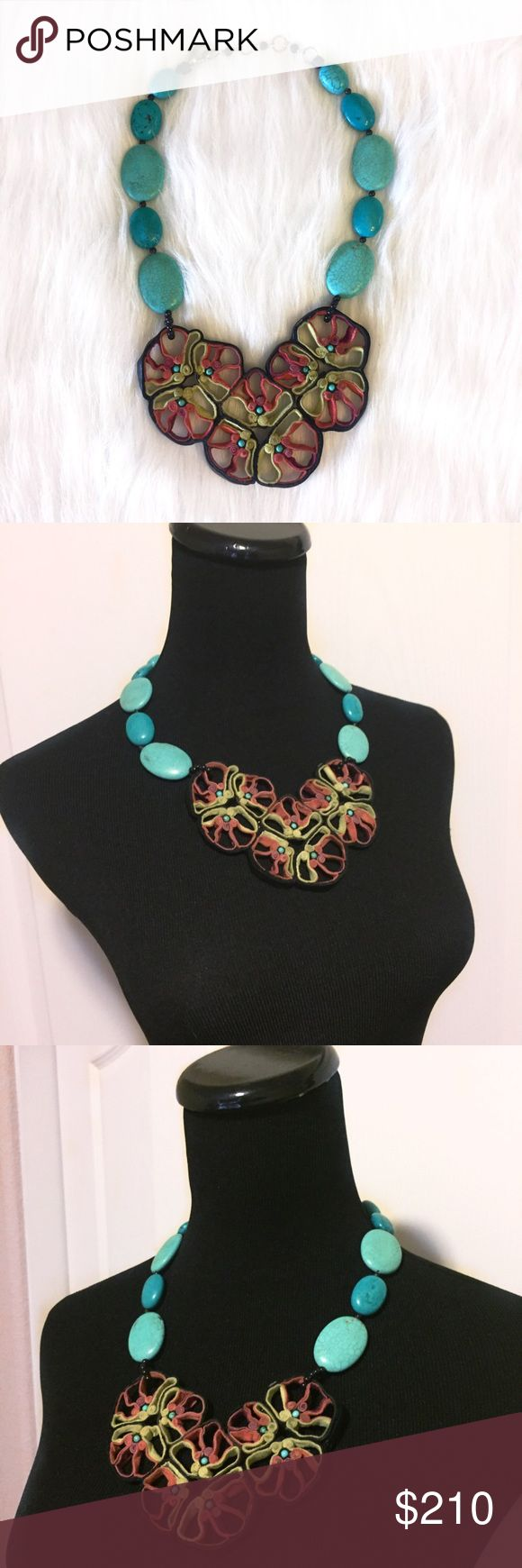 """Southwest Tribal Turquoise & Rolled Suede Necklace Designs by Alicia P """"Winter Tropics Bouquet"""" tribal necklace. Crafted by the prolific southwestern contemporary jewelry designer Alicia Piller. New without tag (didn't come with one.) This unique mixed media necklace is a piece of art. EVERYONE will ask you about it!  Made out of turquoise, rolled suede, supple leather, black jasper & silver. Genuine semi-precious stones. Approx 20"""" long. Smoke-free home. No trades. Offers welcome!💕 Designs…"""