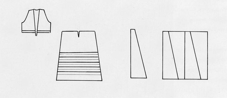 Αχνάρι φορέματος της φορεσιάς των Σπετσών, νησιά Αργοσαρωνικού. Αρχείο Πελοποννησιακού Λαογραφικού Ιδρύματος. Pattern of a dress, part of the costume of Spetses, Saronic Gulf Islands. Peloponnesian Folklore Foundation Archive