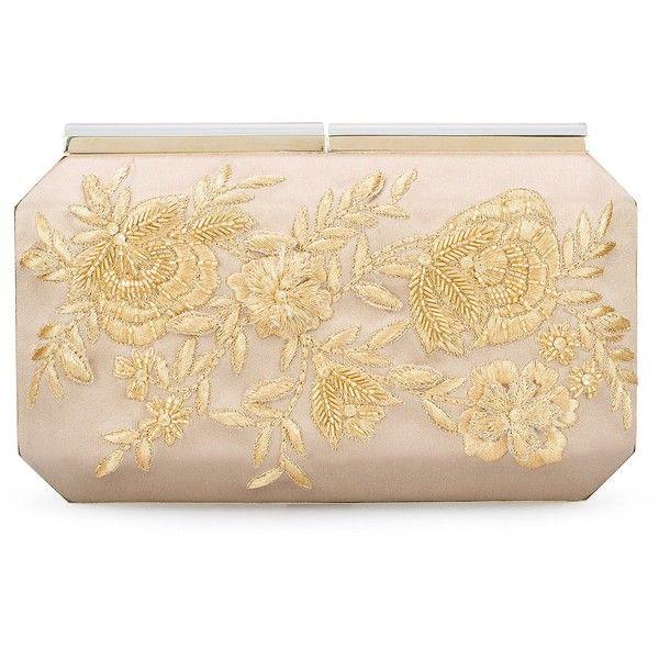 Oscar de la Renta Champagne Embroidered Satin Saya Minaudiere ($1,780) ❤ liked on Polyvore featuring bags, handbags, clutches, oscar de la renta, metallic handbags, chain purse, metallic purse, floral purse en man bag