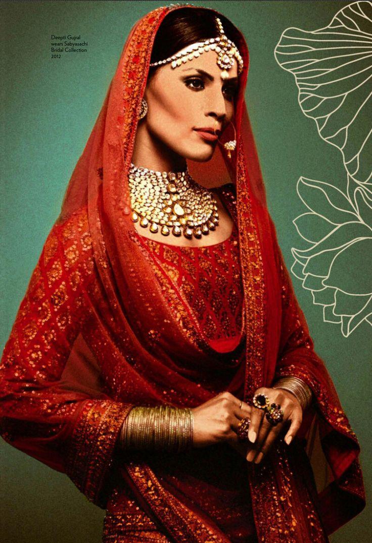 #KnotsAndHearts || #WeLove || Sabyasachi ||Deepti Gujral wears Sabyasachi Bridal Collection in Vogue India Wedding Book 2013.