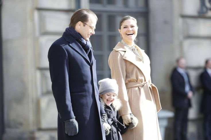 The Swedish Crown Princess Family attended the Victoria's Name Day celebrations in the Inner Courtyard of the Royal Palace of Stockholm