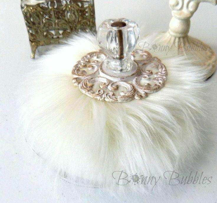 Cream Powder Puff Wand - soft creamy ivory puff patter with handle – Bonny…