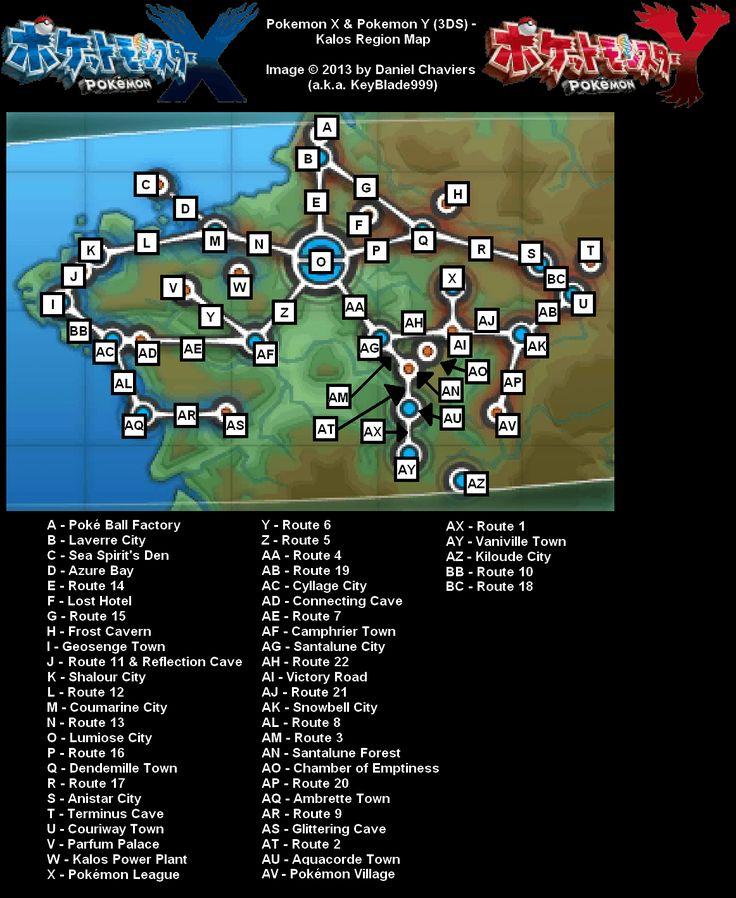 Pokemon Y Kalos Region Map for 3DS by KeyBlade999 - GameFAQs