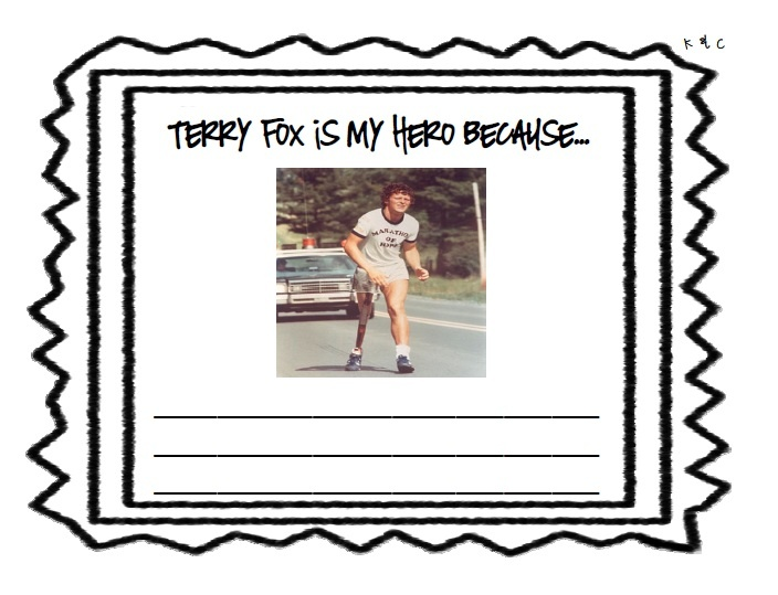 Writing template for why Terry Fox is your Hero.
