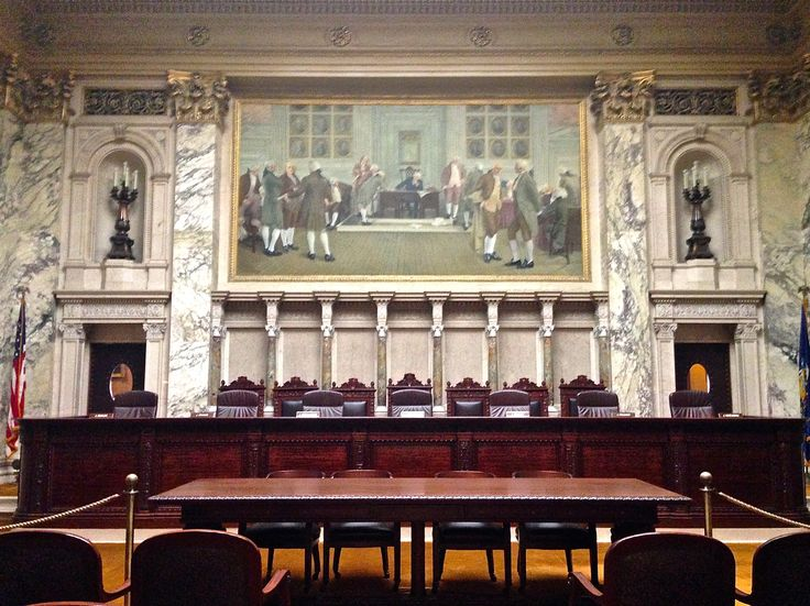 This is the Wisconsin Supreme Court Hearing Room.  From September through June seven justices hear oral arguments.  Attorneys have 30 minutes to present their cases.  By June 30 the Court's decisions are posted on their website.
