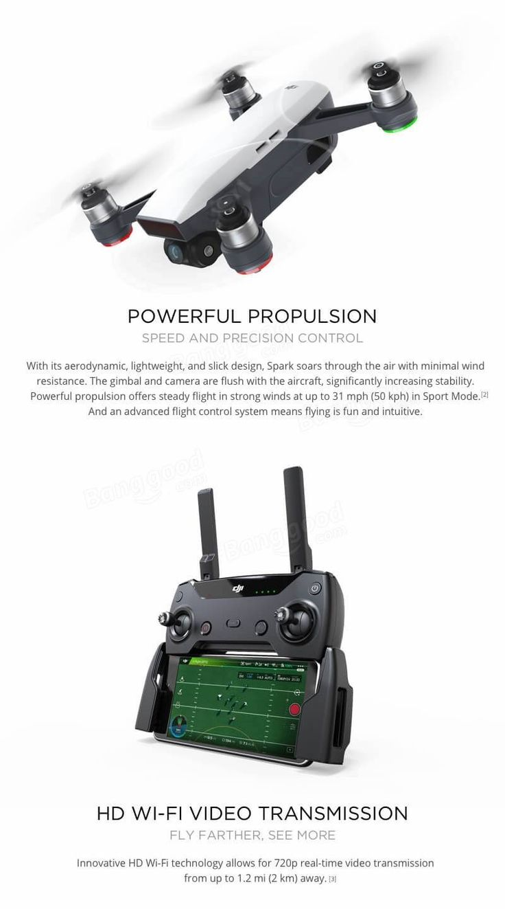 DJI Spark Drone 2KM FPV with 12MP 2-Axis Mechanical Gimbal Camera QuickShot Gesture Mode Quadcopter