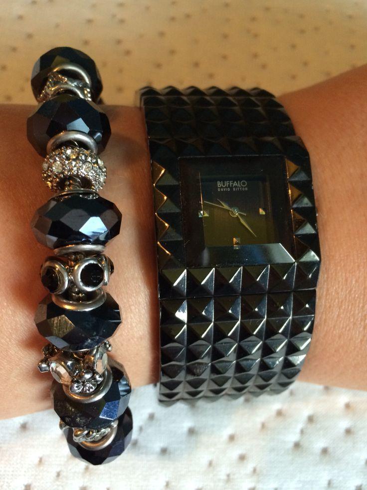 Buffalo David Bitton watch & Black / Silver charm bracelet from BitterSweet Jewelry