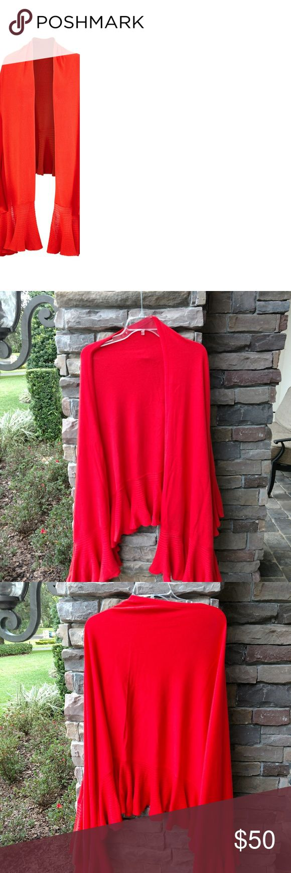 Cabi Ruffle Wrap From current Penny Lane Lively Collection. Orange red. Cotton, viscose, nylon, CAbi Sweaters Shrugs & Ponchos