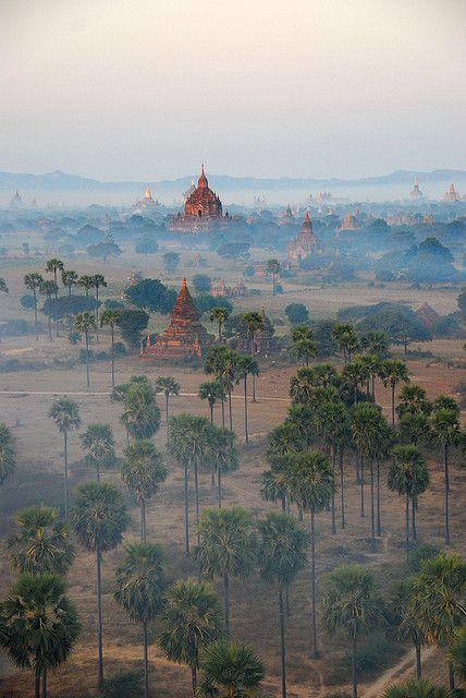Bagan Temples in the morning mist, #Myanmar