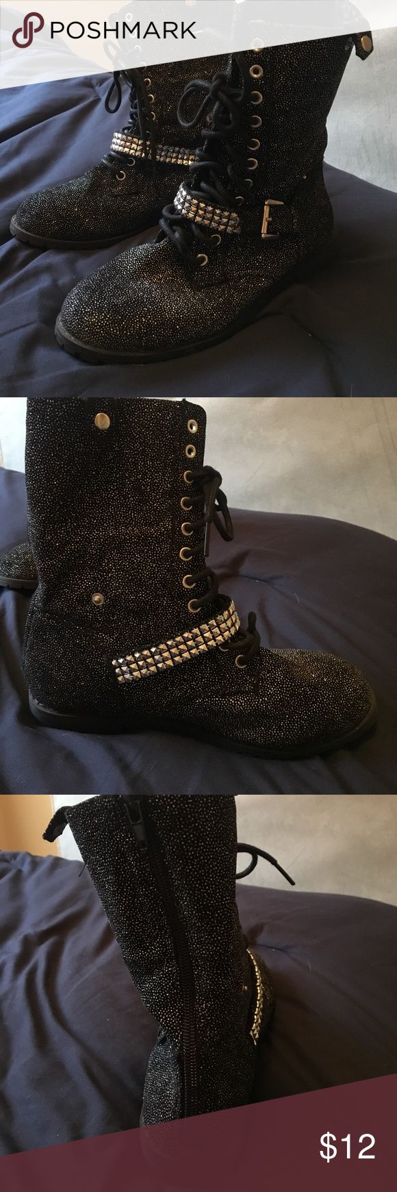 Black sparkle military style boots! Black with sparkles military style boots from Justice. Size 6 worn 1x excellent condition. Lace up and have clips on the side to fold down. Bundle to save or make your best offer! Justice Shoes Lace Up Boots