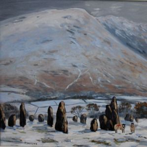 Two Sheep At Castlerigg Stone Circle - SOLD. Original Oil Painting by Jeff Sudders.
