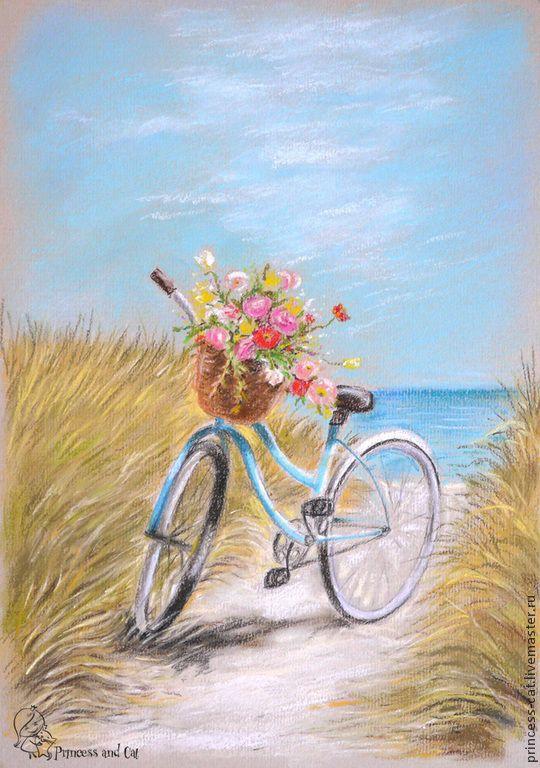 Купить Море, солнце, велосипед... - голубой, море, лето, велосипед, пляж, морская тема, бирюзовый