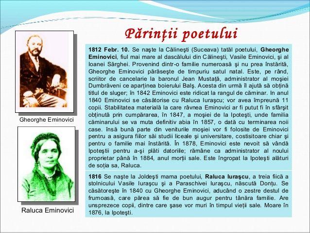 Gheorghe Eminovici Raluca Eminovici 1812 Febr. 10. Se naşte la Călineşti (Suceava) tatăl poetului, Gheorghe Eminovici, fiu...