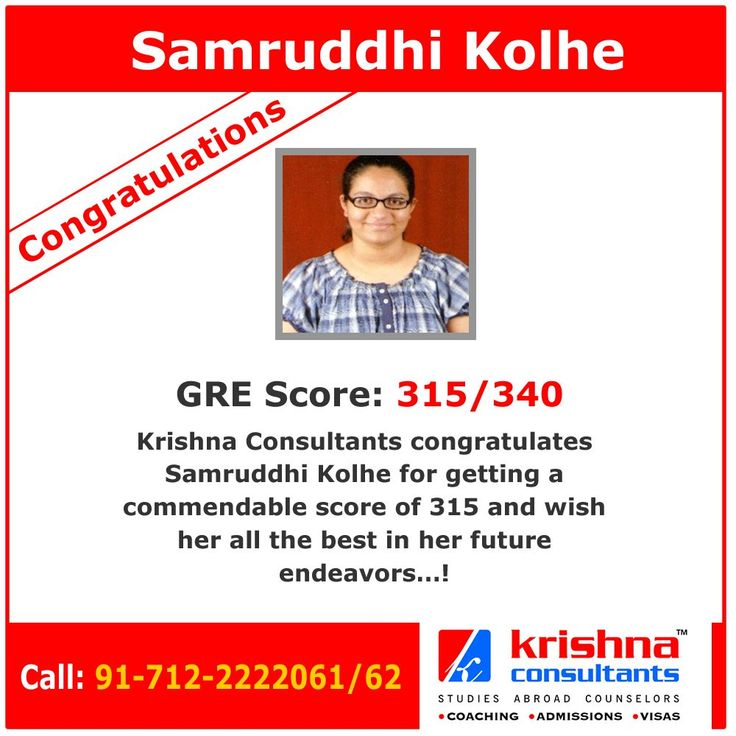 Congratulations to Samruddhi Kolhe for getting an excellent score of 315/340 in #GRE.  #studyabroad #studyinUSA