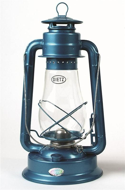 """Dietz Blizzard Hurricane Oil Lantern Blue 17.95 Black 21.95 Same efficient lantern as the Junior but in a larger package, the Blizzard was designed in 1898 to offer a choice in size. Earned its name by standing up to high winds. Extra-tall globe for superior efficiency Output: 4.4 cp, burns: 26 hrs Tank: 31 oz Size: 15""""H, 2-3/4 lb"""