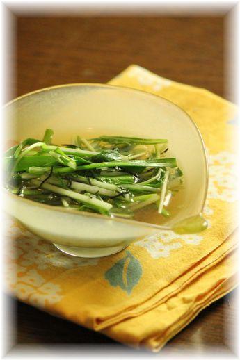 ニラと水菜の中華煮びたし
