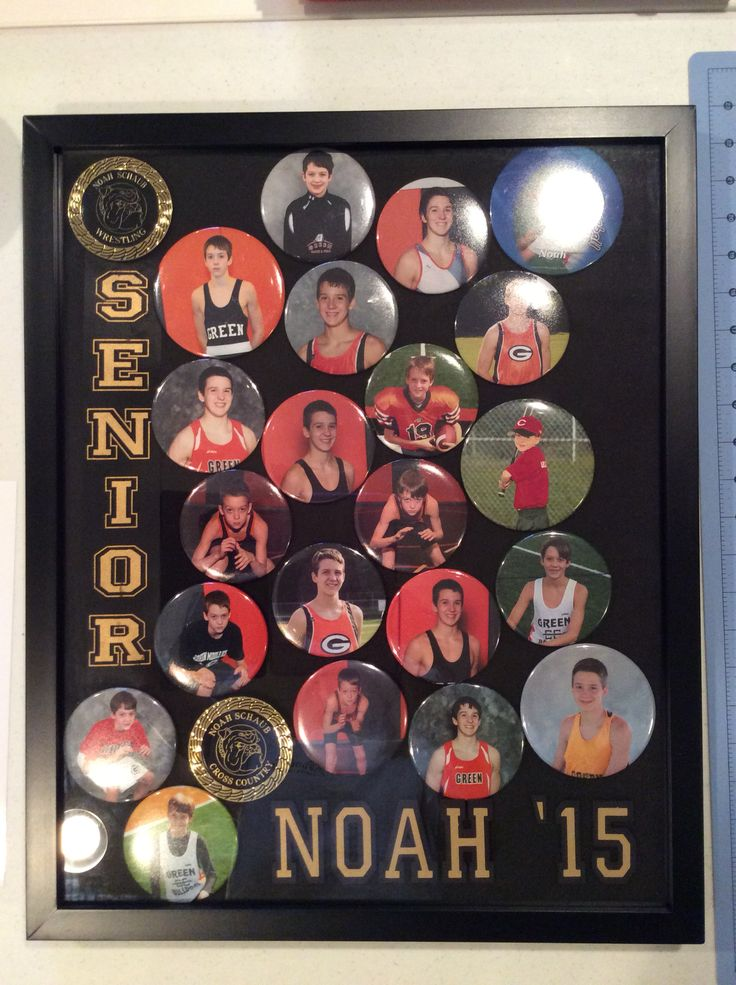 Display case of sports photo buttons #photobuttons #senior #graduationparty