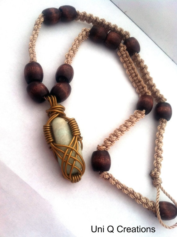 Macrame Beaded Woven Necklace with Wire Wrapped by UniQCreations