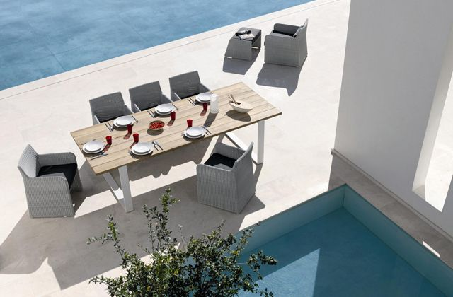 Swing woven dining chairs with the Prato table by Manutti  http://www.coshliving.com.au/outdoor-brands/manutti/swing/