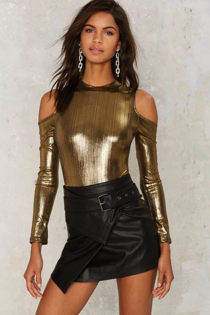 Glamorous Gold as Love Cut-Out Bodysuit | Shop Clothes at Nasty Gal!