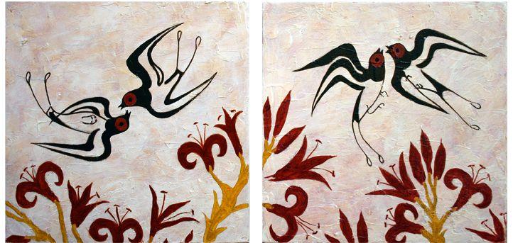 Minoan fresco showing swallows - Akrotiri, island of Santorini