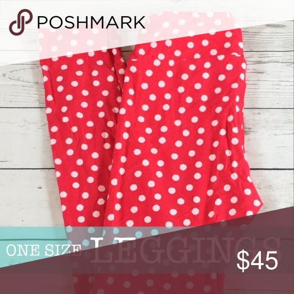 "Lularoe ""Minnie Mouse"" Leggings NWOT. One Size: 2-10. Red with white polka dots.  •Cross posted  •Offers welcome LuLaRoe Pants Leggings"