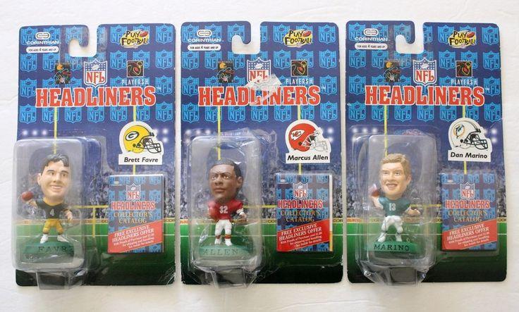 "Lot of 3 NEW NFL Headliners 1996 Brett Favre Marcus Allen Dan Marino 3"" Figurine #Headliners #GreenBayPackers"