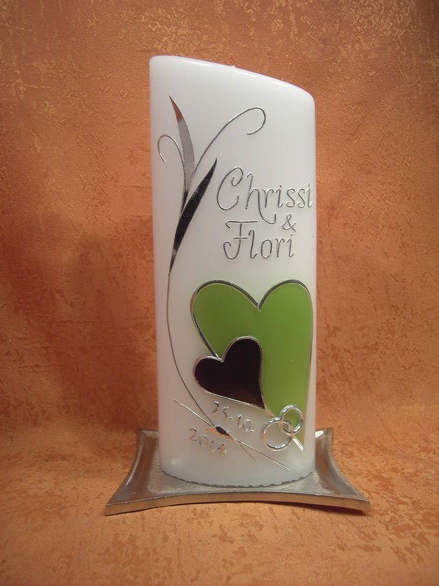 Hochzeitskerzen & Beleuchtung - Hochzeitskerze 403a mit zwei Herzen - ein Designerstück von KerzenundGeschenke bei DaWanda
