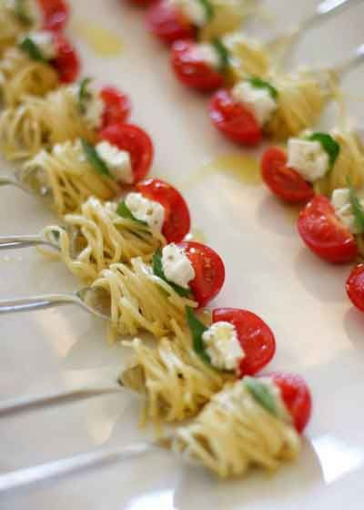 spaghetti bites on forks
