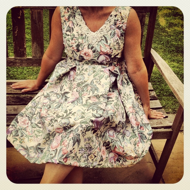 Vintage floral fabric dress beaded with pearls, handmade