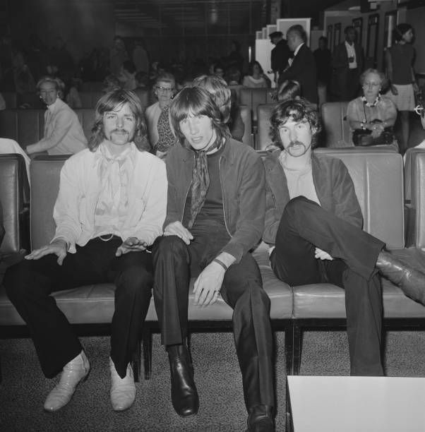 "more-relics: ""Pink Floyd at Heathrow Airport before leaving for a 22-date US tour, London, UK, July 1968. (Photo by George Stroud) """