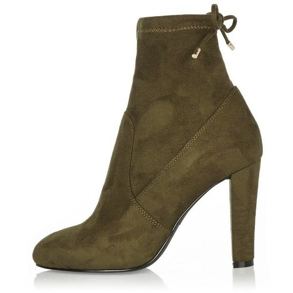 River Island Khaki heeled sock ankle boots ($65) ❤ liked on Polyvore  featuring shoes