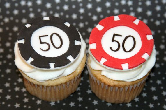 Fondant cupcake toppers  Poker Chips by HarrietsHouseofCakes, $15.95