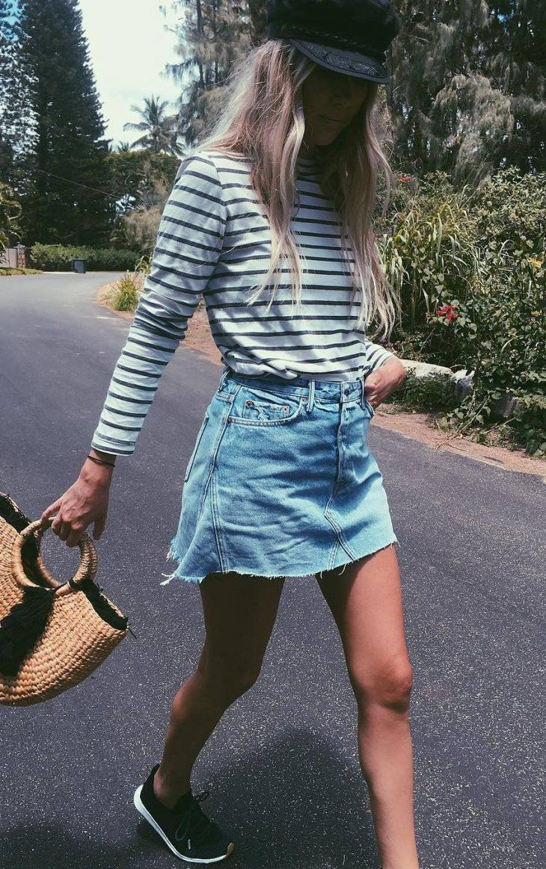 cool ootd: top + denim skirt + bag