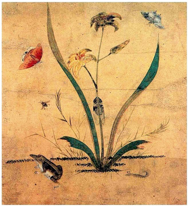 (Korea) 원추리와 개구리 by Lady Shin Saimdang (1504-1551). 34.0× 28.3cm. colors on paper. National Museum of Korea.