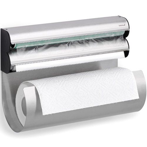 Foil, plastic wrap, & paper towel dispense. Mount on inside of cabinet (or wall) to save drawer space!