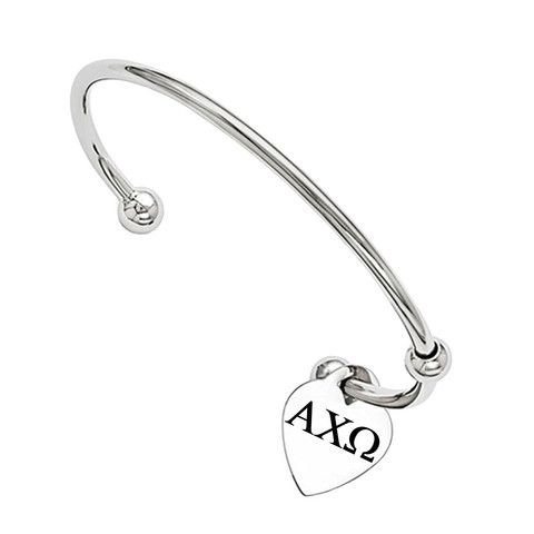Alpha Chi Omega Cuff Bracelet by College Jewelry Solid Stainless Steel