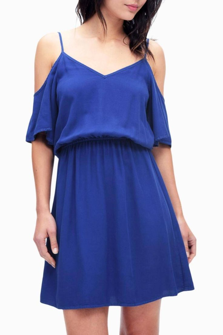 """Royal blue mini dress with cold-shoulder elbow length sleeves. Supported by adjustable spaghetti straps. V-cut on bothfront and back. Elasticized waist.    Measures 16"""" at bust and 37"""" from shoulder to hem.   Cold-Shoulder Dress  by Splendid. Clothing - Dresses - Mini Clothing - Dresses - Short Sleeve New Jersey"""