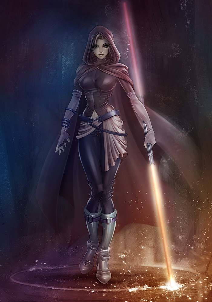 Female Jedi, Dot Line Surface Art Studio on ArtStation at https://www.artstation.com/artwork/qv4eN