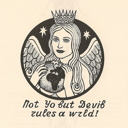 """The correct English text should read """"Satan, not God, rules the world!"""" Satan is depicted as a woman holding the globe."""
